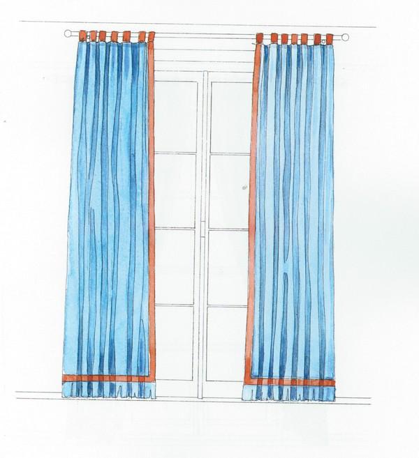 Les rideaux droit avec tête à passant - decoiris.ch/de